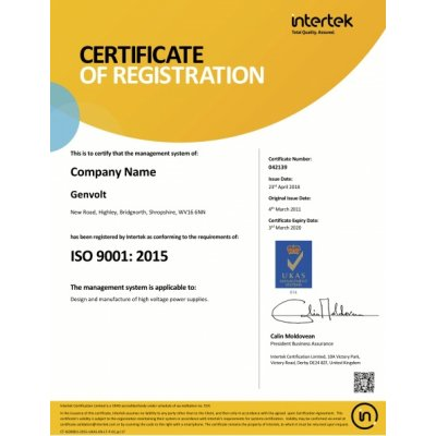 24th April 2018 - We are now ISO 9001:2015 certified!